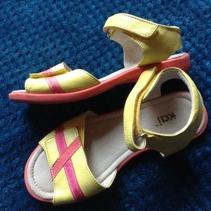 exc SEE KAI RUN yellow leather sandals 1